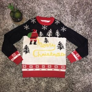 TIPSY ELVES UGLY CHRISTMAS SWEATER Yellow Snow S